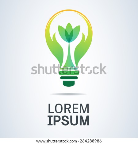 Green energy icon with light bulb & hands holding plant abstract template. Green concept. Safe idea. Eco concept - stock vector