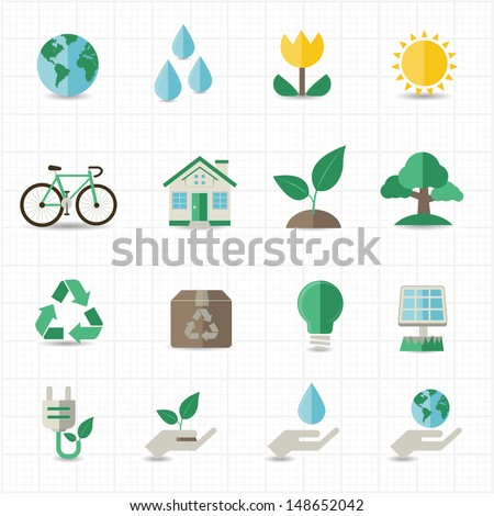 Green energy icons - stock vector