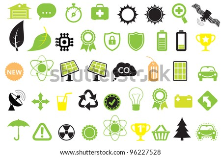 Green energy icons, concept of energy saving, ecology and technologies - stock vector