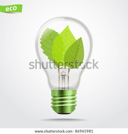 Green energy lamp - stock vector