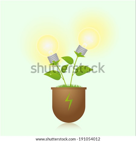green energy lamps on the plant, vector illustration