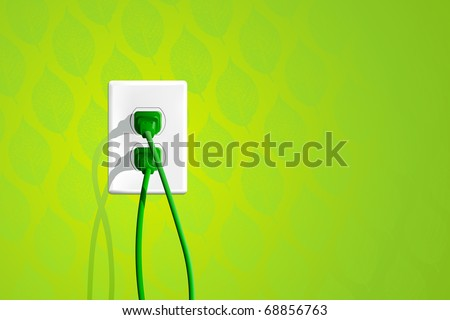 Green Energy Plug - stock vector