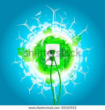 Green Energy Plug and world in the background - stock vector