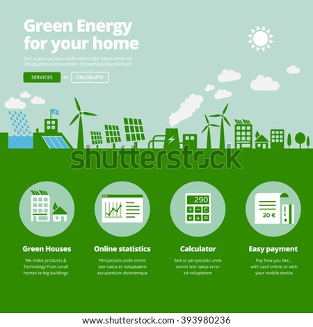 Green energy supplier. Water, solar, geothermal & wind power plants illustration website banner with services icons.  - stock vector