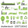 Green energy symbols, ecology concept, factory - stock vector