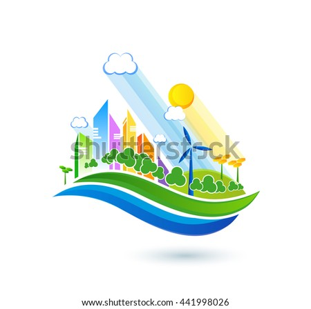 Green energy urban landscape vector. Ecology nature, eco house building. Future city illustration.