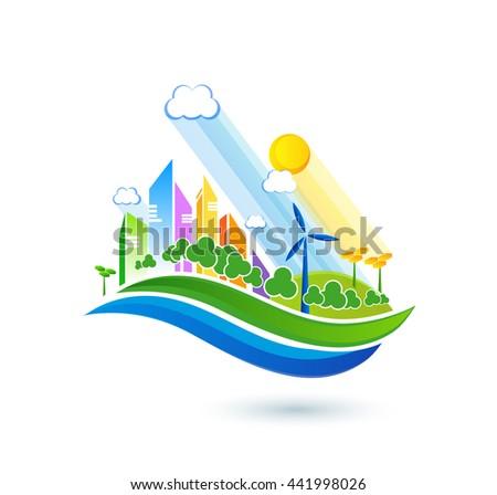 Green energy urban landscape vector. Ecology nature, eco house building. Green energy eco city vector landscape illustration - stock vector