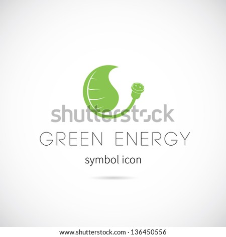 Green energy vector symbol icon or Logo Template - stock vector