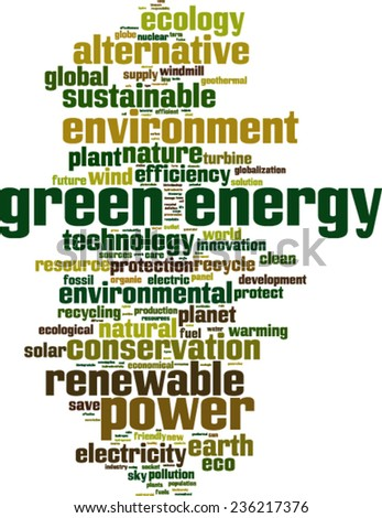 Green energy word cloud concept. Vector illustration - stock vector