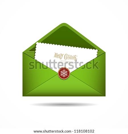 Green Envelope letter Merry Christmas white card, Vector illustration - stock vector