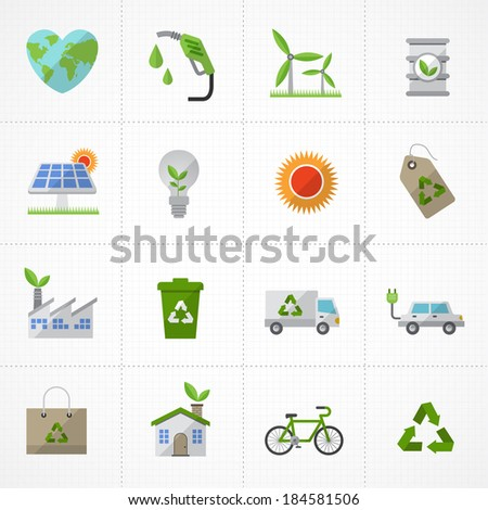 Green Environment and ecology Icons set - stock vector