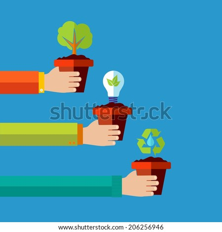 Green environment and renewable energy concept flat design illustration background. EPS10 vector file organized in layers for easy editing. - stock vector