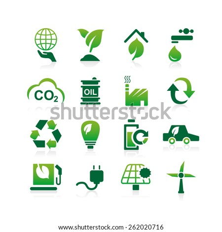 Green environment ECO and recycle concept icon set - Simplicity Series - stock vector