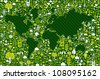 Green environment icon set around World map shape. Vector file layered for easy manipulation and custom coloring. - stock photo