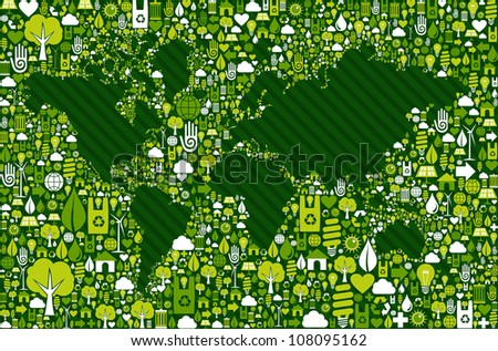 Green environment icon set around World map shape. Vector file layered for easy manipulation and custom coloring. - stock vector