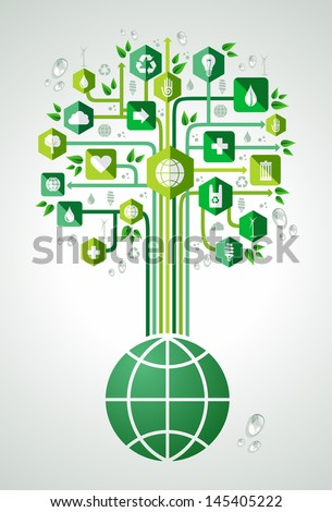 Green environment icons set tree over the world . Vector file layered for easy manipulation and custom coloring. - stock vector