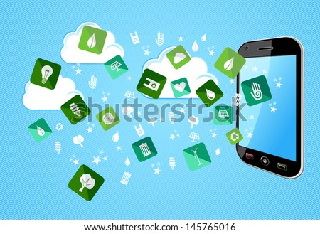 Green environment icons splash from Mobile phone. Vector file layered for easy manipulation and custom coloring. - stock vector