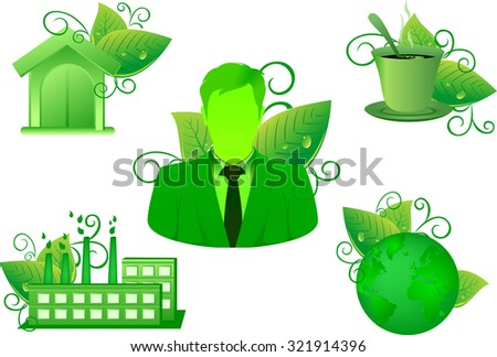green Environment Nature leaf icon set have business home coffee and industrial factory vector green - stock vector