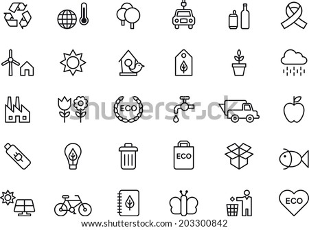 Green Environment & Recycling icons - stock vector