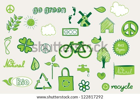 green, environment related doodle elements - stock vector