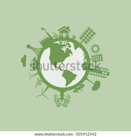 Green environment Sustainable Energy World Concept - Illustration - stock vector
