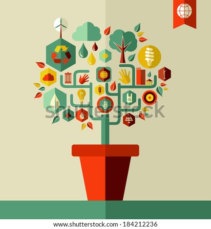 Green environment tree pot concept illustration with flat icon set. EPS10 vector file organized in layers for easy editing. - stock vector