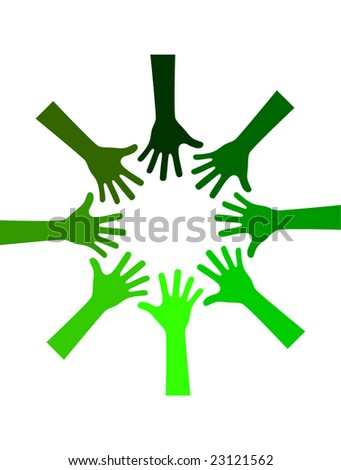 green environmental hands working together - stock vector