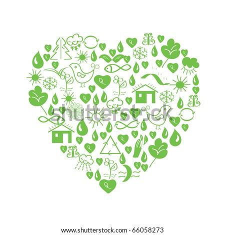 Green environmental heart with symbols - stock vector