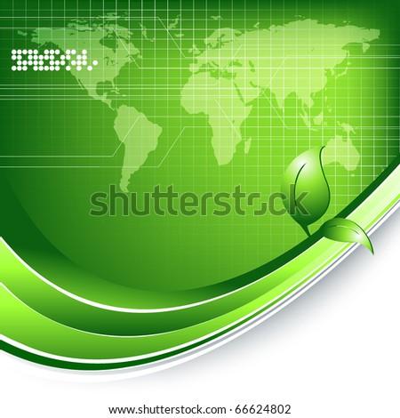 green environmental vector technology vector with map. Eps10 - stock vector