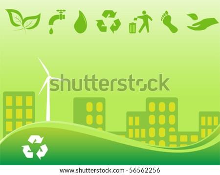 Green environmentally conscious city view - stock vector