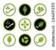 Green environmentally friendly logos. - stock vector