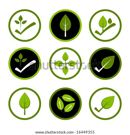 Green environmentally friendly logos.