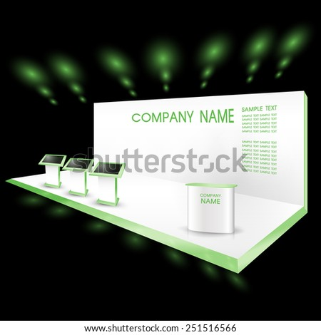 green exhibition trade show booth with monitor - stock vector