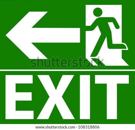 Green exit emergency sign on white - stock vector