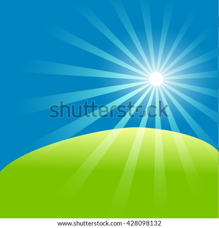 Green field and blue sky with summer sun burst. Vector illustration.