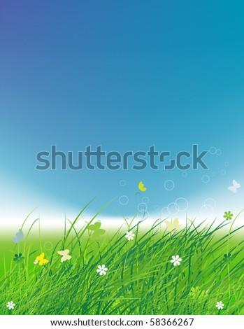 Green field with butterflies, summer background - stock vector