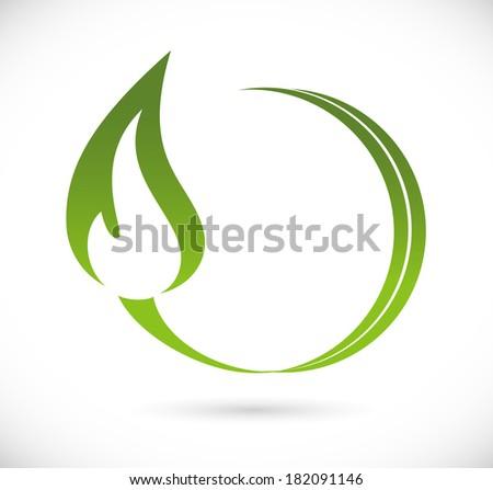 Green fire icon - stock vector