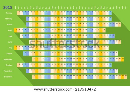 Green flat styled linear calendar 2015 with long shadow - stock vector