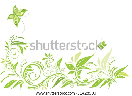 Green floral background - stock vector