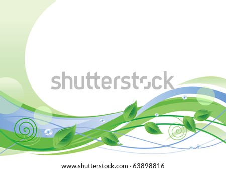 Green Floral Background With Space For Text - stock vector