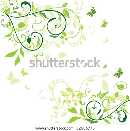 Green floral banner - stock vector