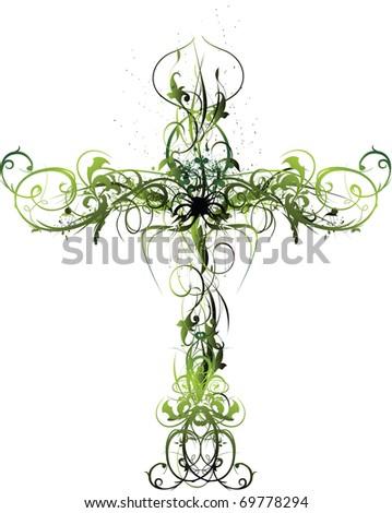Green Floral Cross - stock vector