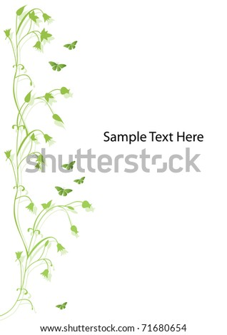 green floral design with butterflies and room for text - stock vector