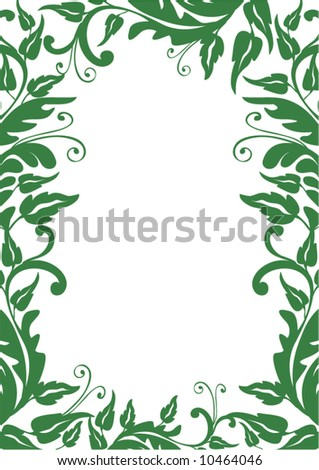 green floral frame - vector - stock vector