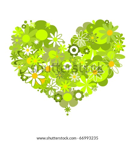 Green floral heart, eco message - stock vector