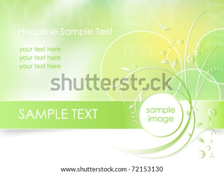 Green flower background, greeting card - abstract floral design in white, green and light yellow color - vector, eps10 - suitable for spring themes - stock vector