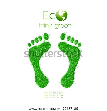 Green footprint made from grass. Think Green. Ecology Concept. Vector Illustration. - stock vector