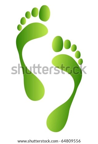 green footprints - stock vector