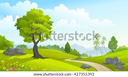 Green forest in spring time - stock vector