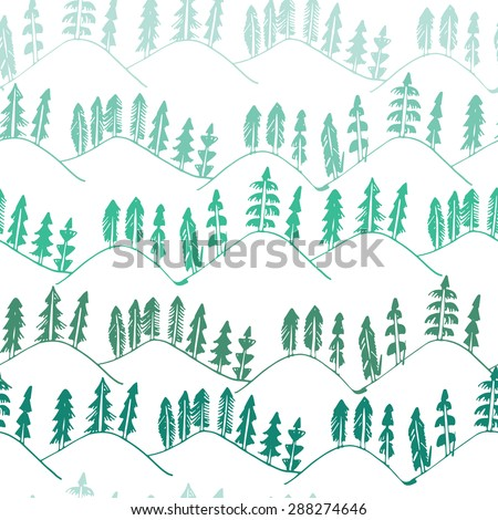 Green forest pattern seamless - stock vector